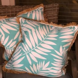 Other - Turquoise&White outdoor pillows 18x18